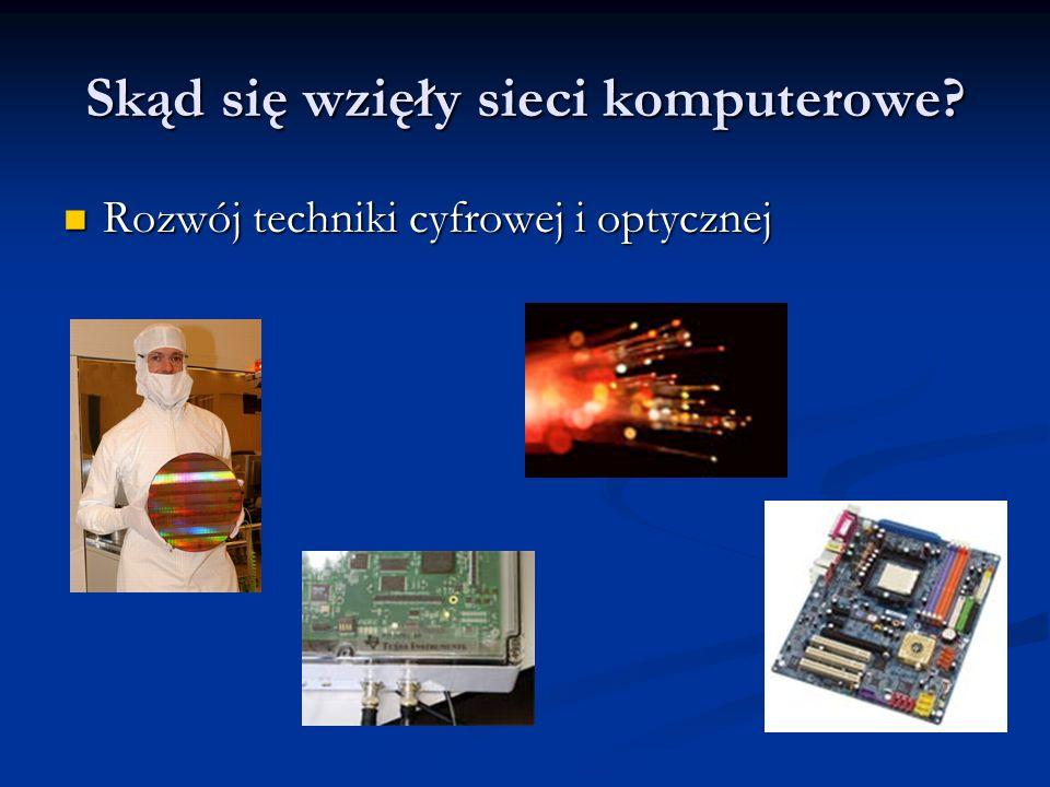 Skąd się wzięły sieci komputerowe? Rozwój techniki cyfrowej i optycznej Rozwój techniki cyfrowej i optycznej