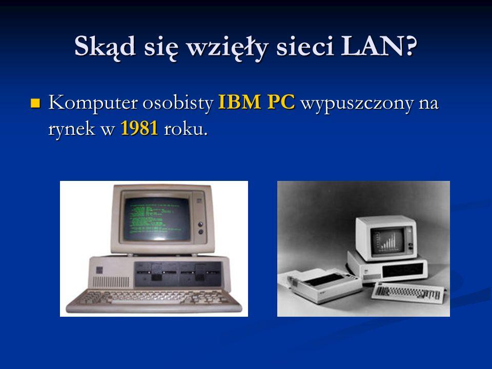 Skąd się wzięły sieci LAN? Komputer osobisty IBM PC wypuszczony na rynek w 1981 roku. Komputer osobisty IBM PC wypuszczony na rynek w 1981 roku.
