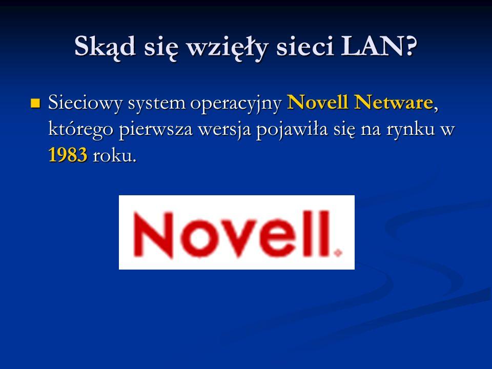 Skąd się wzięły sieci LAN? Sieciowy system operacyjny Novell Netware, którego pierwsza wersja pojawiła się na rynku w 1983 roku. Sieciowy system opera