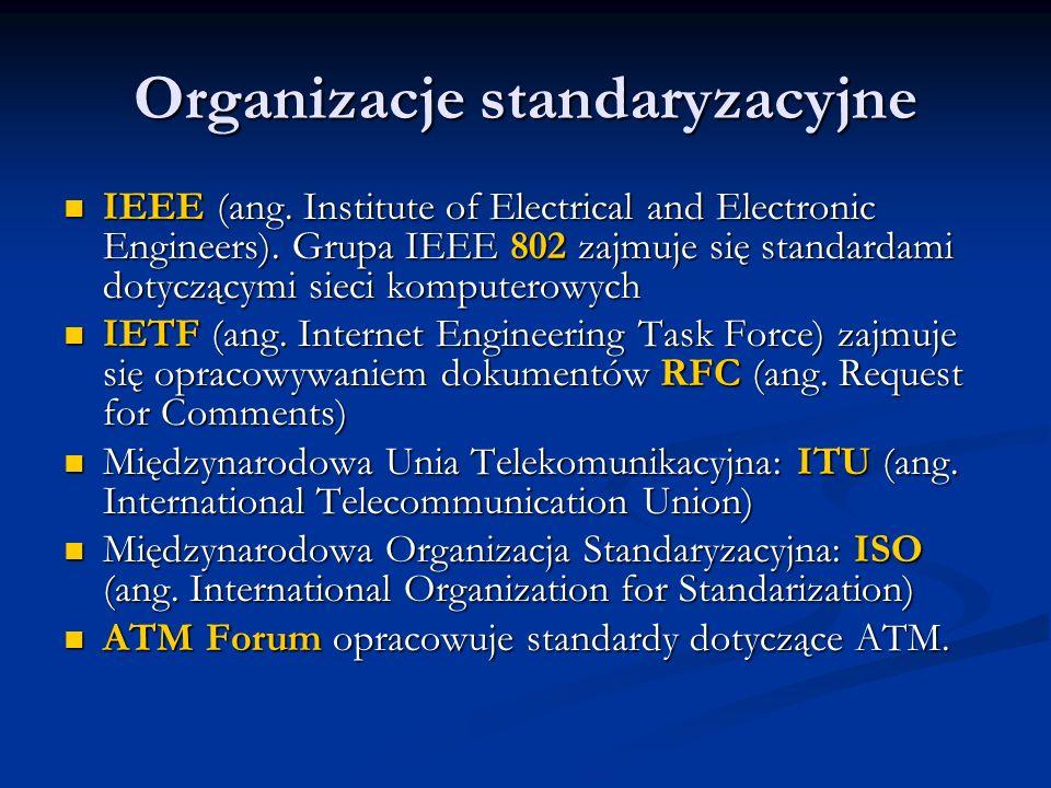 Organizacje standaryzacyjne IEEE (ang. Institute of Electrical and Electronic Engineers). Grupa IEEE 802 zajmuje się standardami dotyczącymi sieci kom
