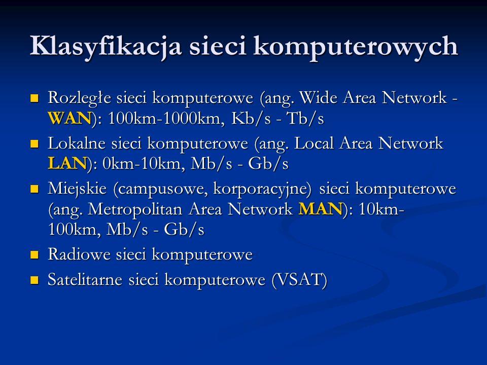 Klasyfikacja sieci komputerowych Rozległe sieci komputerowe (ang. Wide Area Network - WAN): 100km-1000km, Kb/s - Tb/s Rozległe sieci komputerowe (ang.