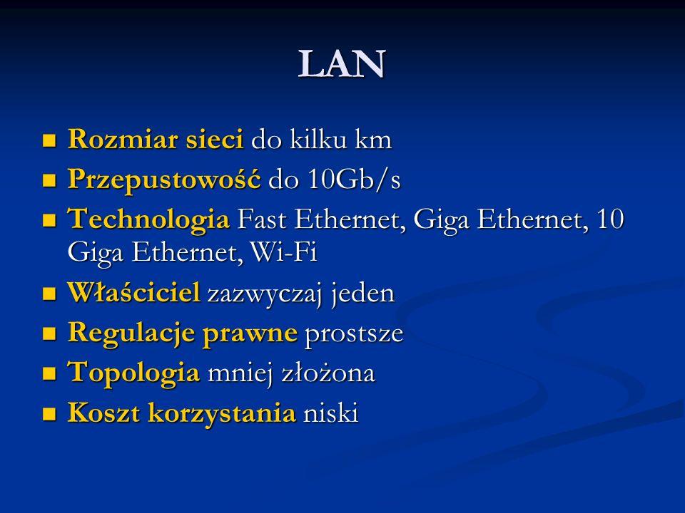 LAN Rozmiar sieci do kilku km Rozmiar sieci do kilku km Przepustowość do 10Gb/s Przepustowość do 10Gb/s Technologia Fast Ethernet, Giga Ethernet, 10 Giga Ethernet, Wi-Fi Technologia Fast Ethernet, Giga Ethernet, 10 Giga Ethernet, Wi-Fi Właściciel zazwyczaj jeden Właściciel zazwyczaj jeden Regulacje prawne prostsze Regulacje prawne prostsze Topologia mniej złożona Topologia mniej złożona Koszt korzystania niski Koszt korzystania niski