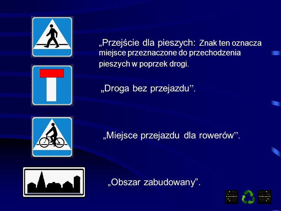 Przejście dla pieszych: Znak ten oznacza miejsce przeznaczone do przechodzenia pieszych w poprzek drogi.