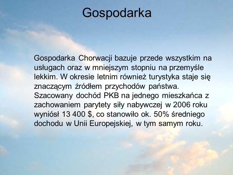 Gospodarka Gospodarka Chorwacji bazuje przede wszystkim na usługach oraz w mniejszym stopniu na przemyśle lekkim. W okresie letnim również turystyka s
