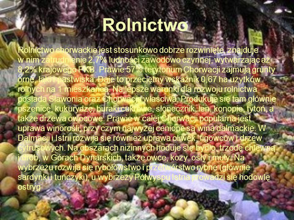 Rolnictwo Rolnictwo chorwackie jest stosunkowo dobrze rozwinięte, znajduje w nim zatrudnienie 2,7% ludności zawodowo czynnej, wytwarzając aż 8,2% kraj