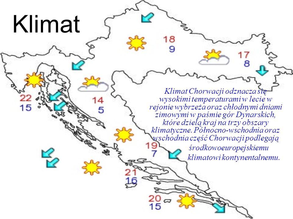 Klimat Klimat Chorwacji odznacza się wysokimi temperaturami w lecie w rejonie wybrzeża oraz chłodnymi dniami zimowymi w paśmie gór Dynarskich, które d