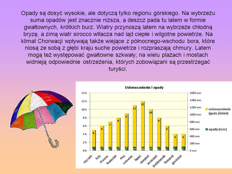 Opady są dosyć wysokie, ale dotyczą tylko regionu górskiego. Na wybrzeżu suma opadów jest znacznie niższa, a deszcz pada tu latem w formie gwałtownych