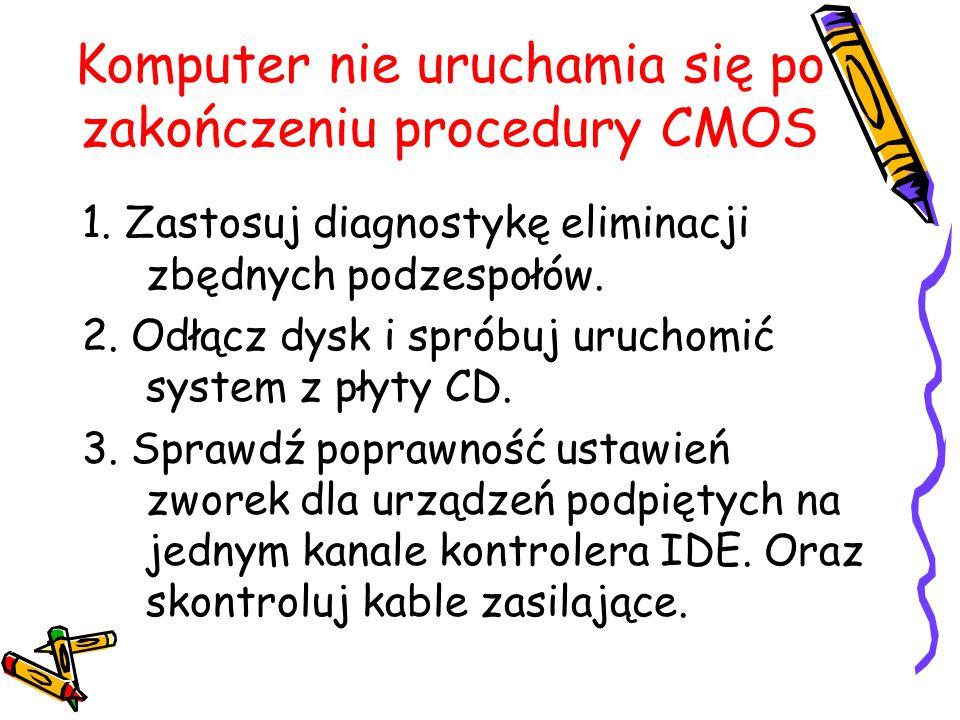 Komputer nie uruchamia się po zakończeniu procedury CMOS 1. Zastosuj diagnostykę eliminacji zbędnych podzespołów. 2. Odłącz dysk i spróbuj uruchomić s