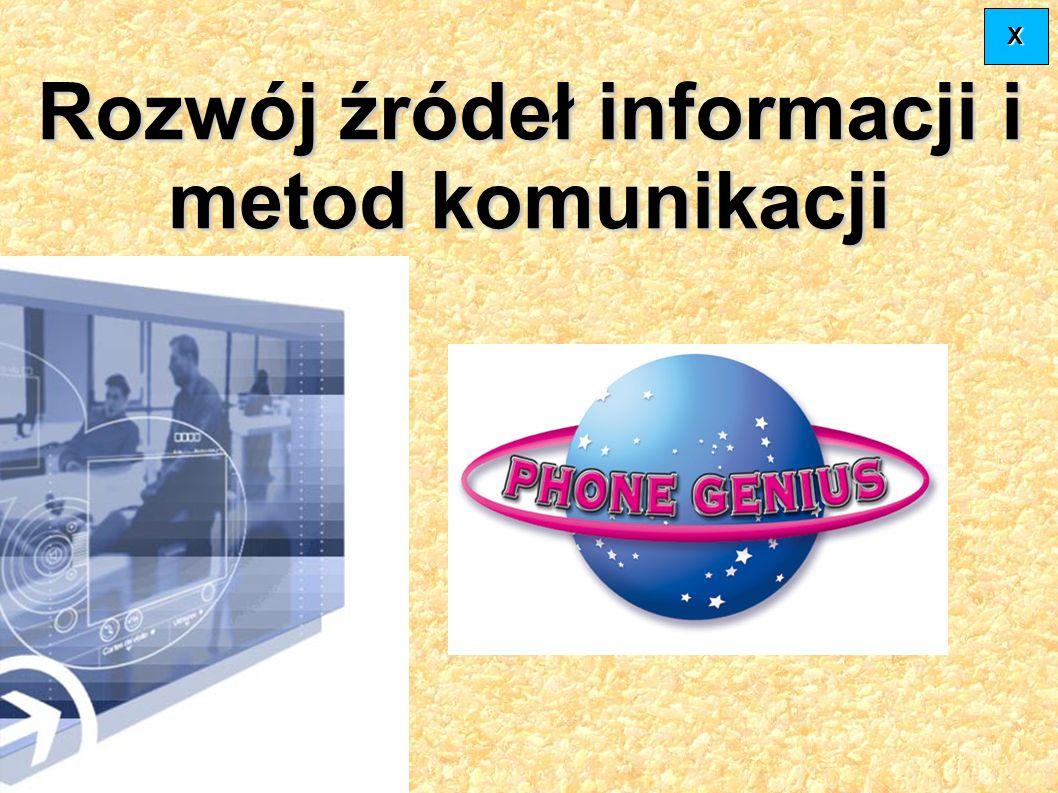 Rozwój źródeł informacji i metod komunikacji XXXX