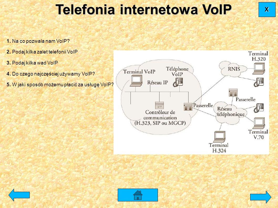 1. Na co pozwala nam VoIP? 2. Podaj kilka zalet telefonii VoIP 3. Podaj kilka wad VoIP 4. Do czego najczęściej używamy VoIP? 5. W jaki sposób możemu p