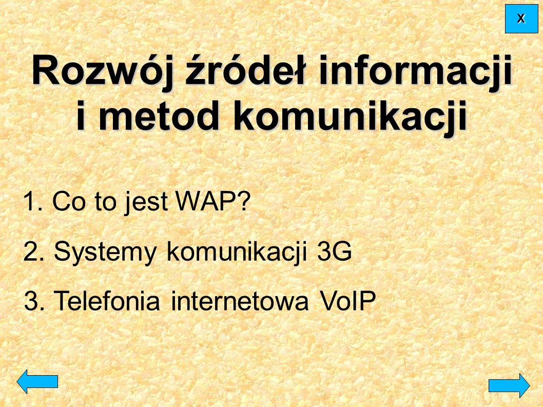 1. Co to jest WAP? 3. Telefonia internetowa VoIP 2. Systemy komunikacji 3G Rozwój źródeł informacji i metod komunikacji XXXX