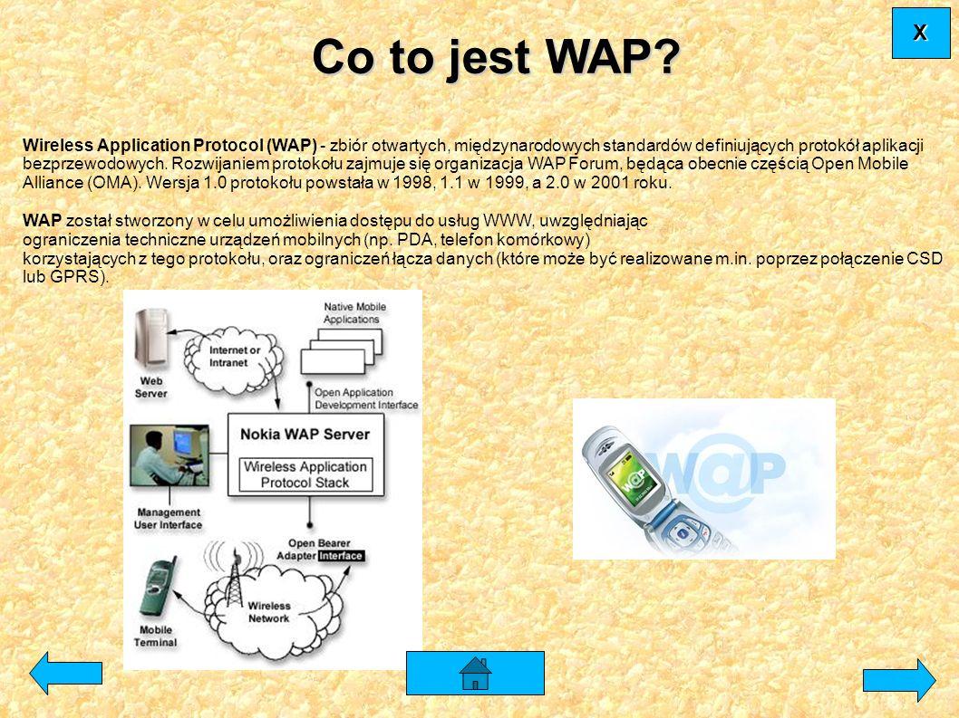 Wireless Application Protocol (WAP) - zbiór otwartych, międzynarodowych standardów definiujących protokół aplikacji bezprzewodowych. Rozwijaniem proto