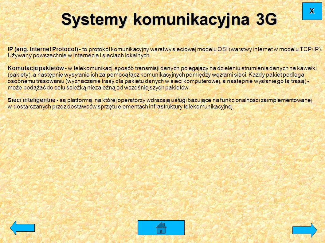Systemy komunikacyjna 3G IP (ang. Internet Protocol) - to protokół komunikacyjny warstwy sieciowej modelu OSI (warstwy internet w modelu TCP/IP). Używ