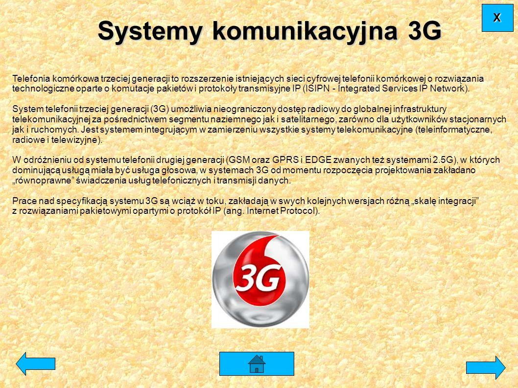 Systemy komunikacyjna 3G Telefonia komórkowa trzeciej generacji to rozszerzenie istniejących sieci cyfrowej telefonii komórkowej o rozwiązania technol