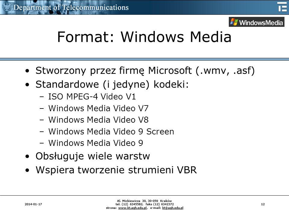 122014-01-17 Al. Mickiewicza 30, 30-059 Kraków tel. (12) 6345582, faks (12) 6342372 strona: www.kt.agh.edu.pl, e-mail: kt@agh.edu.pl Format: Windows M