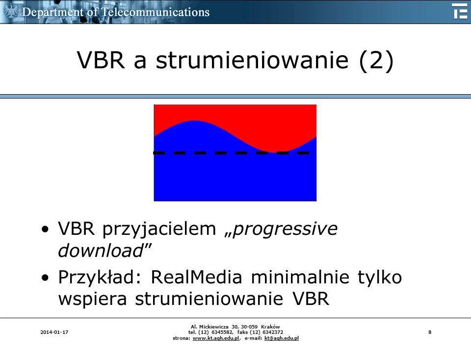 82014-01-17 Al. Mickiewicza 30, 30-059 Kraków tel. (12) 6345582, faks (12) 6342372 strona: www.kt.agh.edu.pl, e-mail: kt@agh.edu.pl VBR a strumieniowa