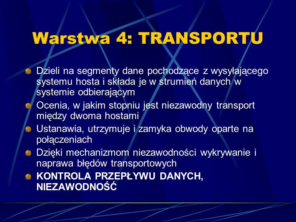 Warstwa 4: TRANSPORTU Dzieli na segmenty dane pochodzące z wysyłającego systemu hosta i składa je w strumień danych w systemie odbierającym Ocenia, w