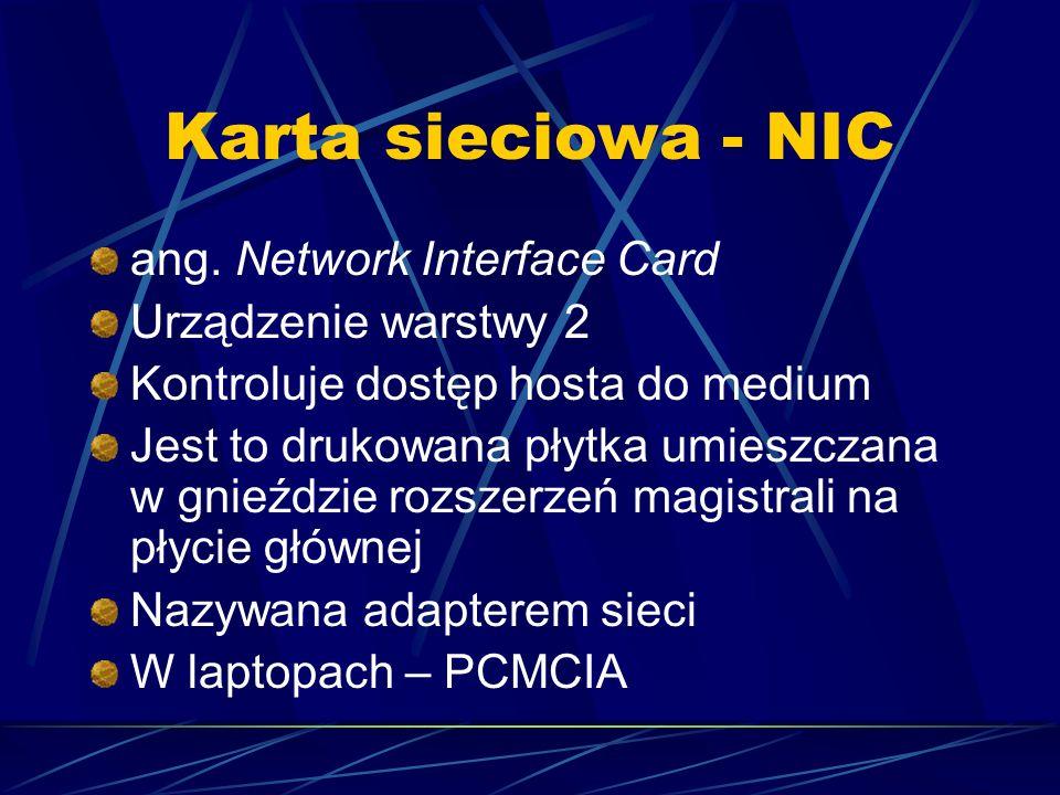 Karta sieciowa - NIC ang. Network Interface Card Urządzenie warstwy 2 Kontroluje dostęp hosta do medium Jest to drukowana płytka umieszczana w gnieźdz