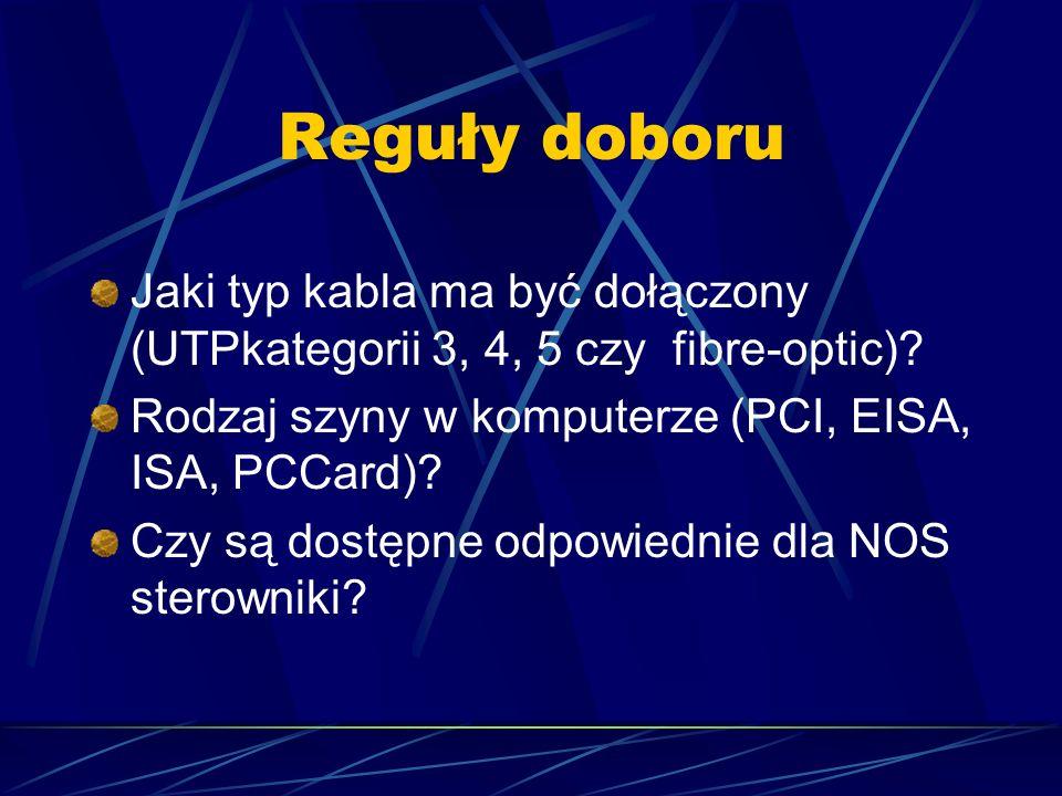 Reguły doboru Jaki typ kabla ma być dołączony (UTPkategorii 3, 4, 5 czy fibre-optic)? Rodzaj szyny w komputerze (PCI, EISA, ISA, PCCard)? Czy są dostę