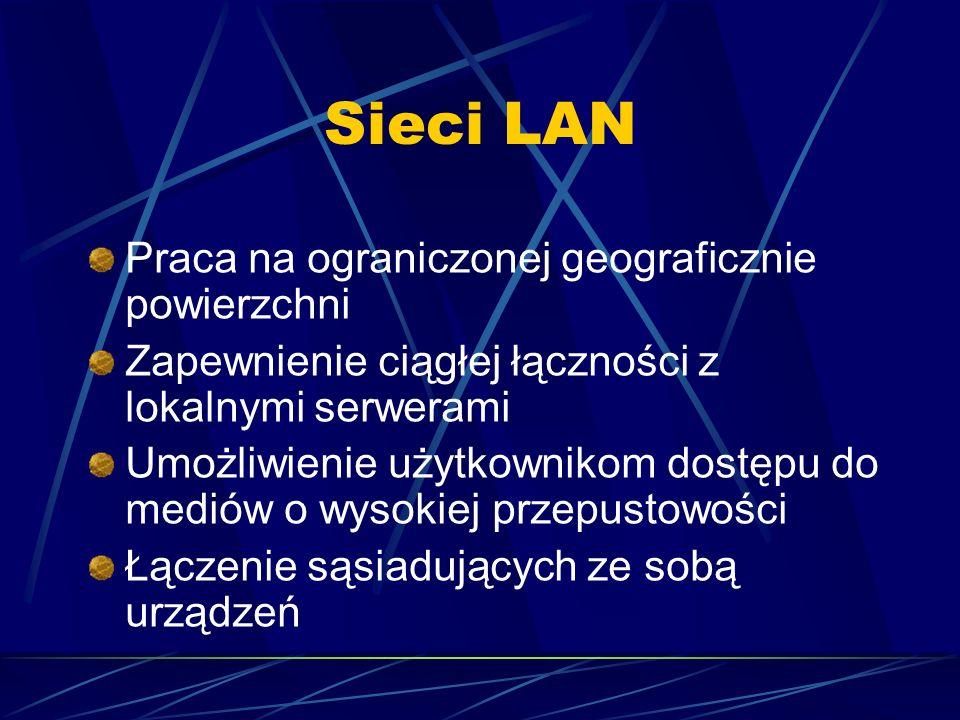 Sieci LAN Praca na ograniczonej geograficznie powierzchni Zapewnienie ciągłej łączności z lokalnymi serwerami Umożliwienie użytkownikom dostępu do med