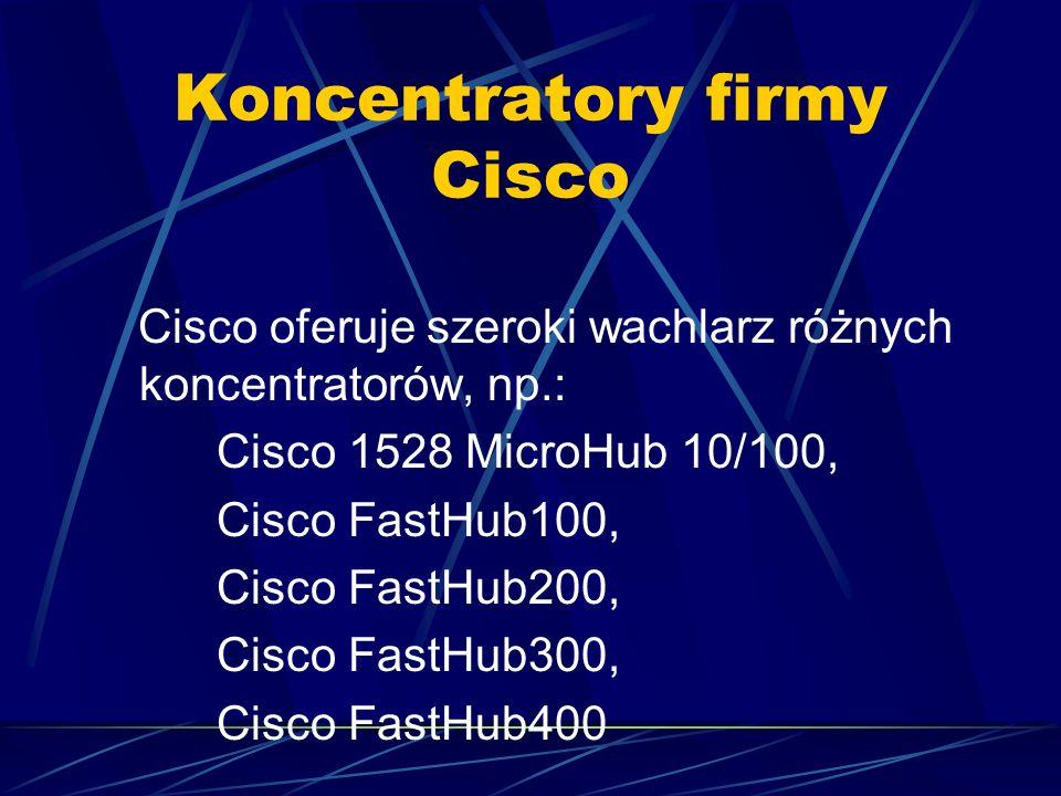 Koncentratory firmy Cisco Cisco oferuje szeroki wachlarz różnych koncentratorów, np.: Cisco 1528 MicroHub 10/100, Cisco FastHub100, Cisco FastHub200,