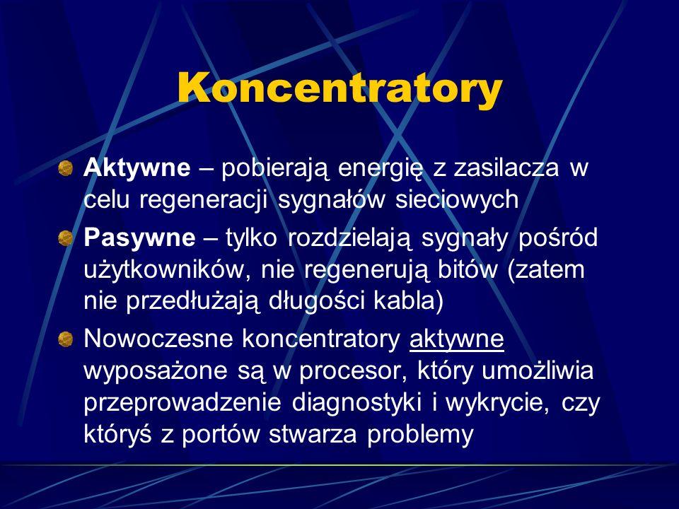 Koncentratory Aktywne – pobierają energię z zasilacza w celu regeneracji sygnałów sieciowych Pasywne – tylko rozdzielają sygnały pośród użytkowników,