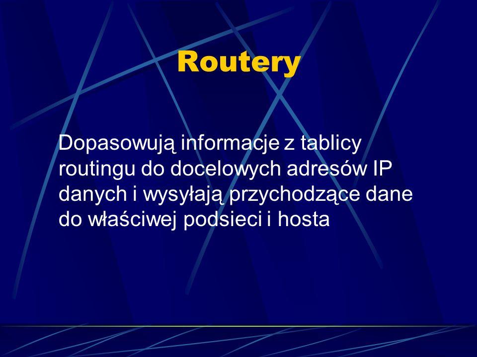 Routery Dopasowują informacje z tablicy routingu do docelowych adresów IP danych i wysyłają przychodzące dane do właściwej podsieci i hosta