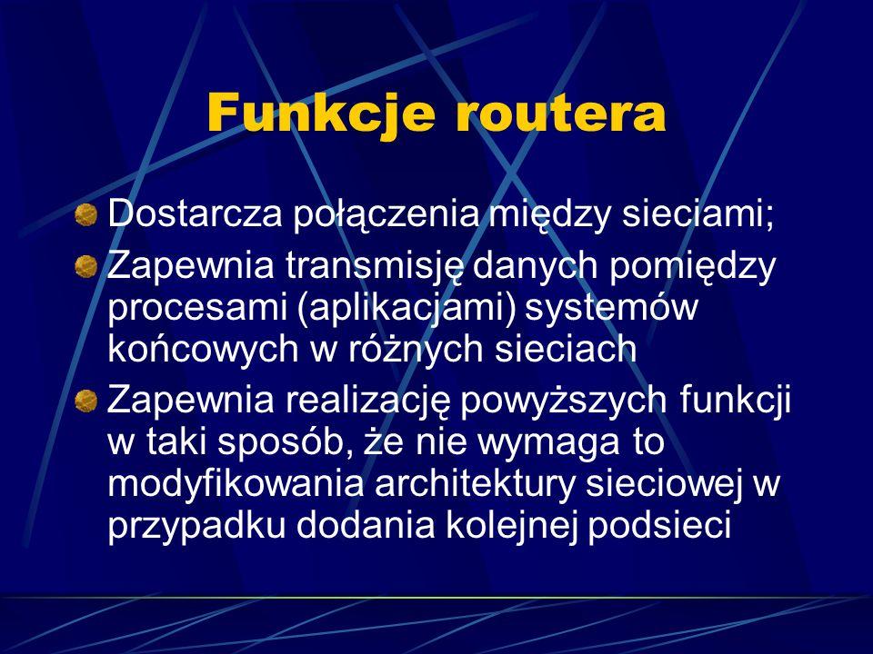Funkcje routera Dostarcza połączenia między sieciami; Zapewnia transmisję danych pomiędzy procesami (aplikacjami) systemów końcowych w różnych sieciac