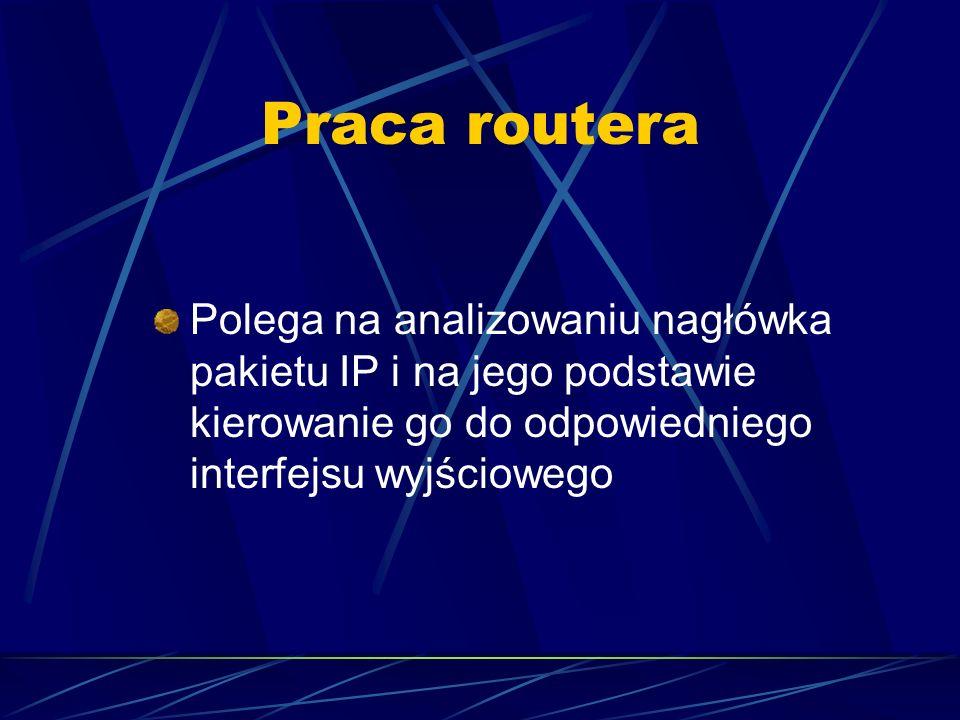 Praca routera Polega na analizowaniu nagłówka pakietu IP i na jego podstawie kierowanie go do odpowiedniego interfejsu wyjściowego