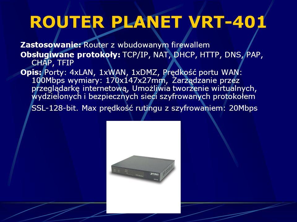 ROUTER PLANET VRT-401 Zastosowanie: Router z wbudowanym firewallem Obsługiwane protokoły: TCP/IP, NAT, DHCP, HTTP, DNS, PAP, CHAP, TFIP Opis: Porty: 4