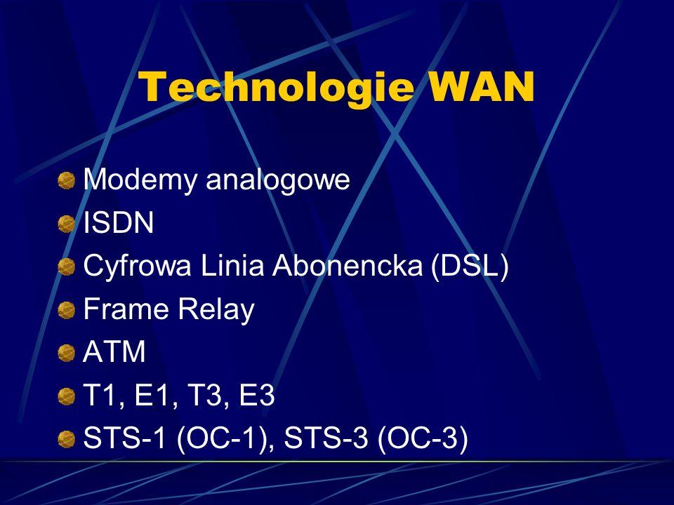 Technologie WAN Modemy analogowe ISDN Cyfrowa Linia Abonencka (DSL) Frame Relay ATM T1, E1, T3, E3 STS-1 (OC-1), STS-3 (OC-3)