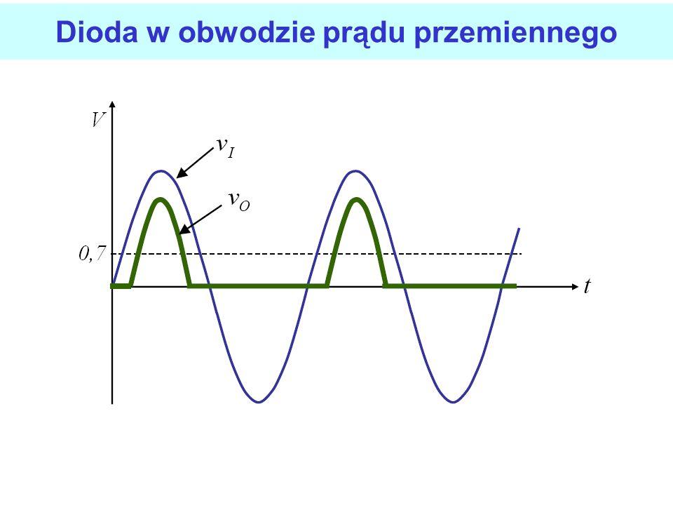 Model obwodowy diody Model diody idealnej z barierą potencjału Napięcie bariery potencjału jest to napięcie na diodzie, przy którym zaczyna płynąć prą