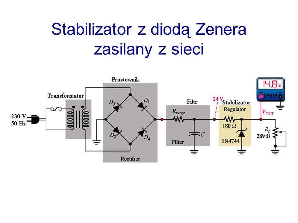 Wartości katalogowe U Z - napięcie Zenera r z - rezystancja różniczkowa (Zenera) I zmax - prąd maksymalny P zmax – maksymalna moc rozproszenia P zmax