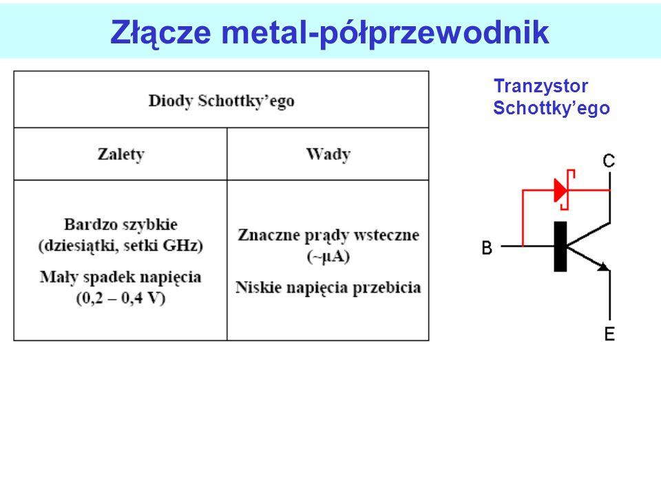 Złącze metal-półprzewodnik Kierunek przewodzenia: plus do metalu, minus do pp typu n obniża się bariera potencjału i elektrony płyną z pp do me elektr
