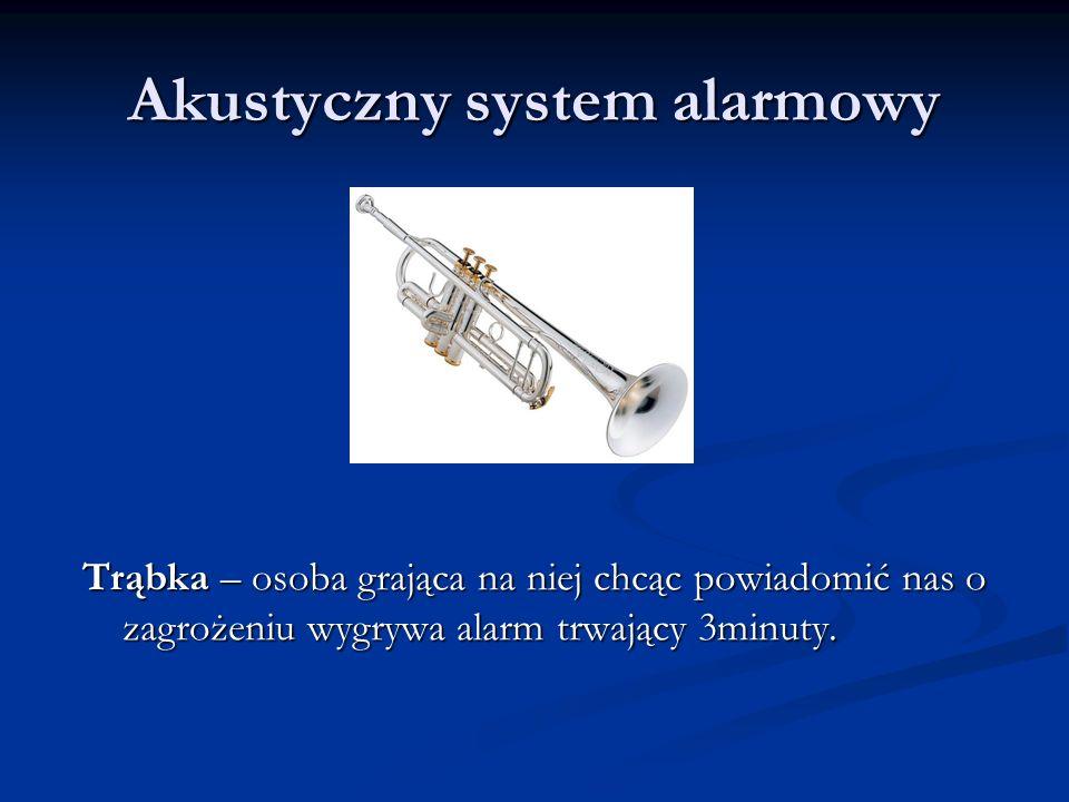 Akustyczny system alarmowy Trąbka – osoba grająca na niej chcąc powiadomić nas o zagrożeniu wygrywa alarm trwający 3minuty.