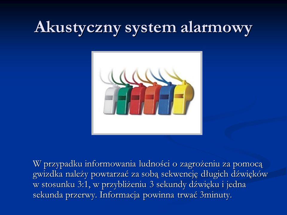 Akustyczny system alarmowy W przypadku informowania ludności o zagrożeniu za pomocą gwizdka należy powtarzać za sobą sekwencję długich dźwięków w stos
