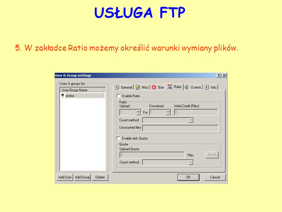 USŁUGA FTP 5. W zakładce Ratio możemy określić warunki wymiany plików.