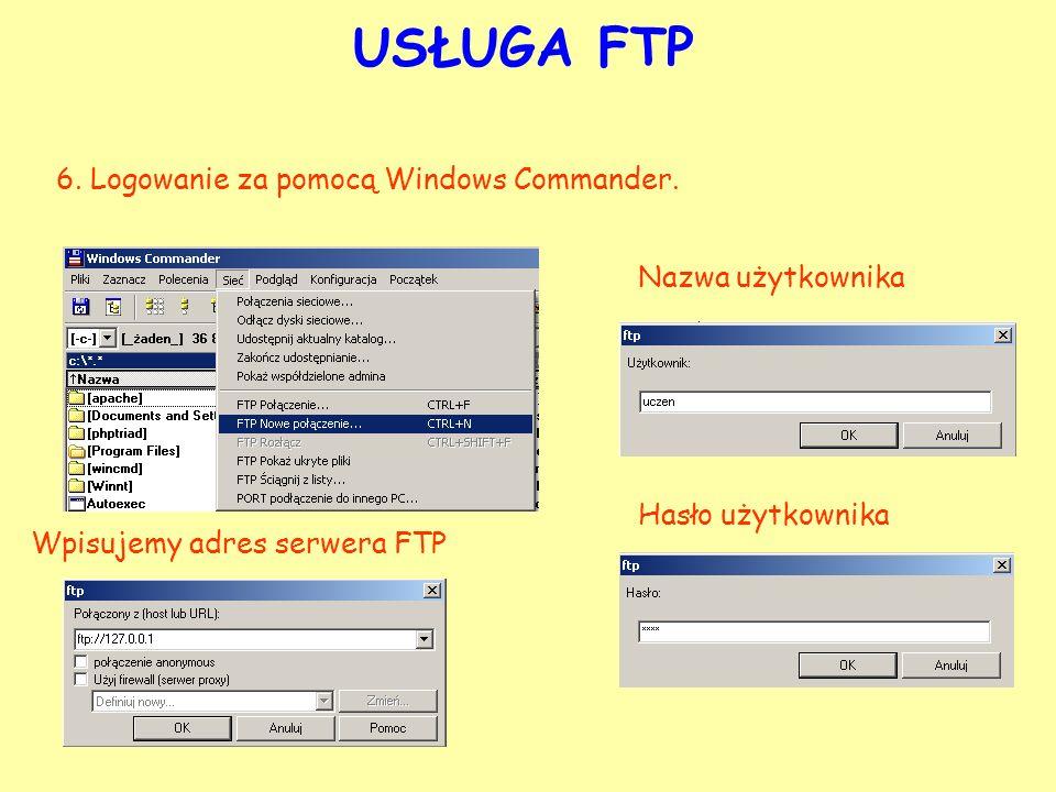 USŁUGA FTP 6. Logowanie za pomocą Windows Commander. Wpisujemy adres serwera FTP Nazwa użytkownika Hasło użytkownika