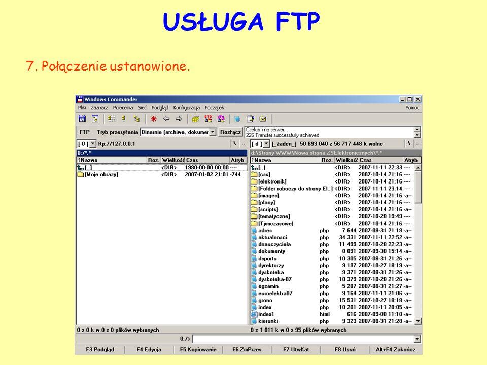 USŁUGA FTP 7. Połączenie ustanowione.