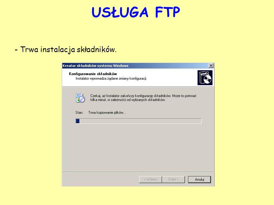 USŁUGA FTP - Gdy serwer zostanie poprawnie zainstalowany kliknij na przycisk Zakończ.