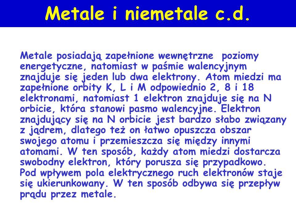 Metale i niemetale Atomy dowolnego pierwiastka składają się z protonów i neutronów, tworzących jądro atomu, wokół którego krążą elektrony, przy czym l