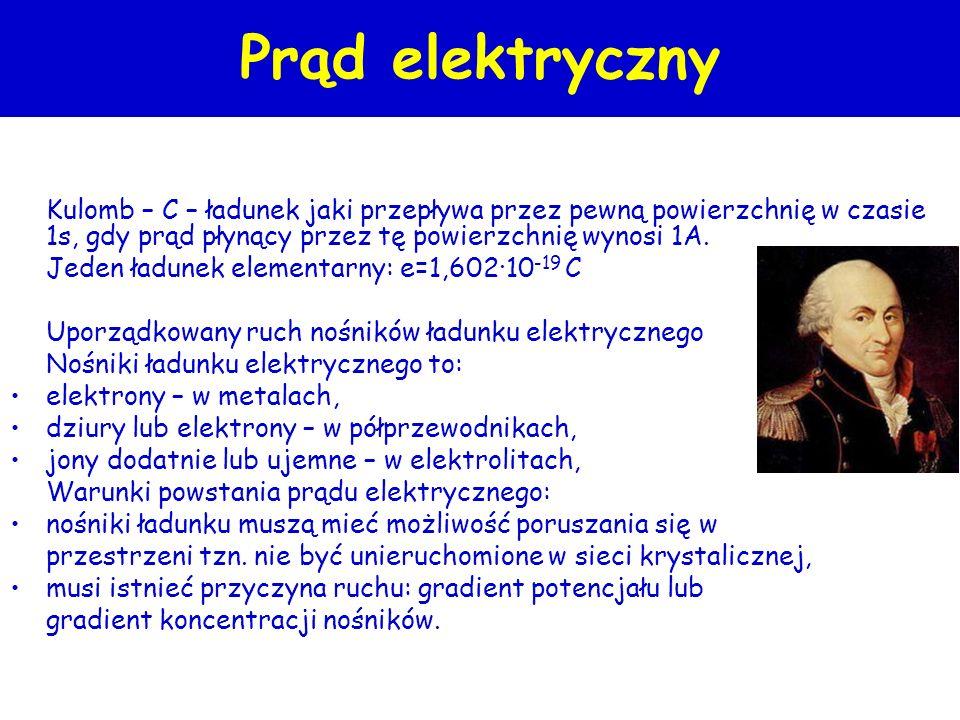 kulomb=amperosekunda Definicja prądu elektrycznego 1C stanowi 6,28×10 18 elektronów 1A=1C/1s Electron + + - - + I