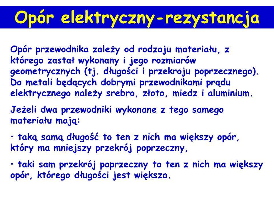 Opór elektryczny-rezystancja Opór elektryczny (rezystancja) to wynik oddziaływania elektronów przewodnictwa z jonami sieci krystalicznej. ρ - opór wła