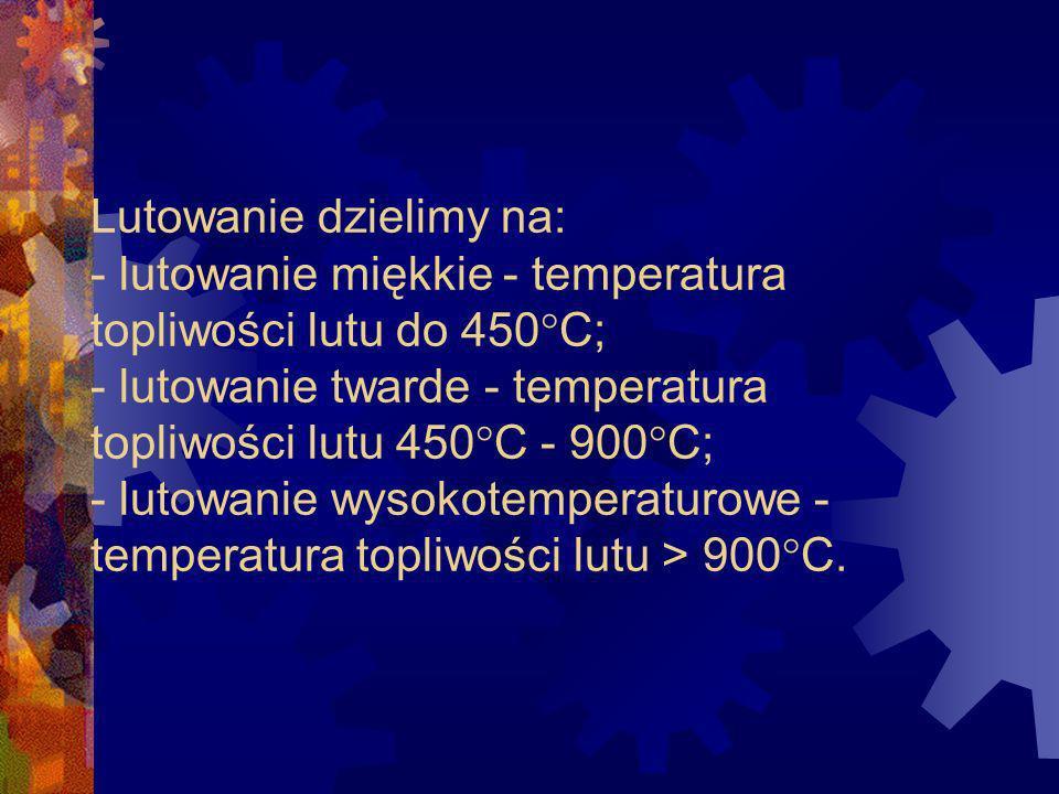 LUTOWANIE - odmiana spajania, zapewniająca połączenie o fizycznej ciągłości, uzyskane stopionym stopiwem o temperaturze topnienia niższej niż temperatura topnienia łączonych materiałów.