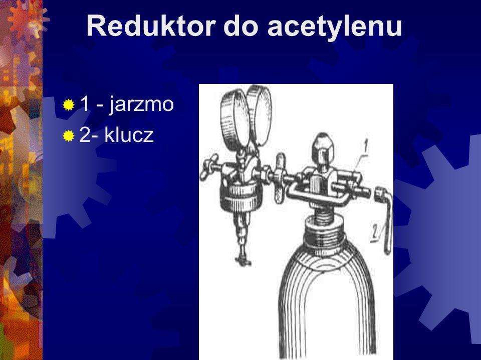 Reduktor do tlenu 1 - śruba stawidłowa 2- sprężyna główna 3- gniazdo zaworu redukcyjnego 4- grzybek zaworu redukcyjnego 5- łącznik z nakrętkom 6- sprężyna dociskowa 7- zawór odcinający 8- przepona