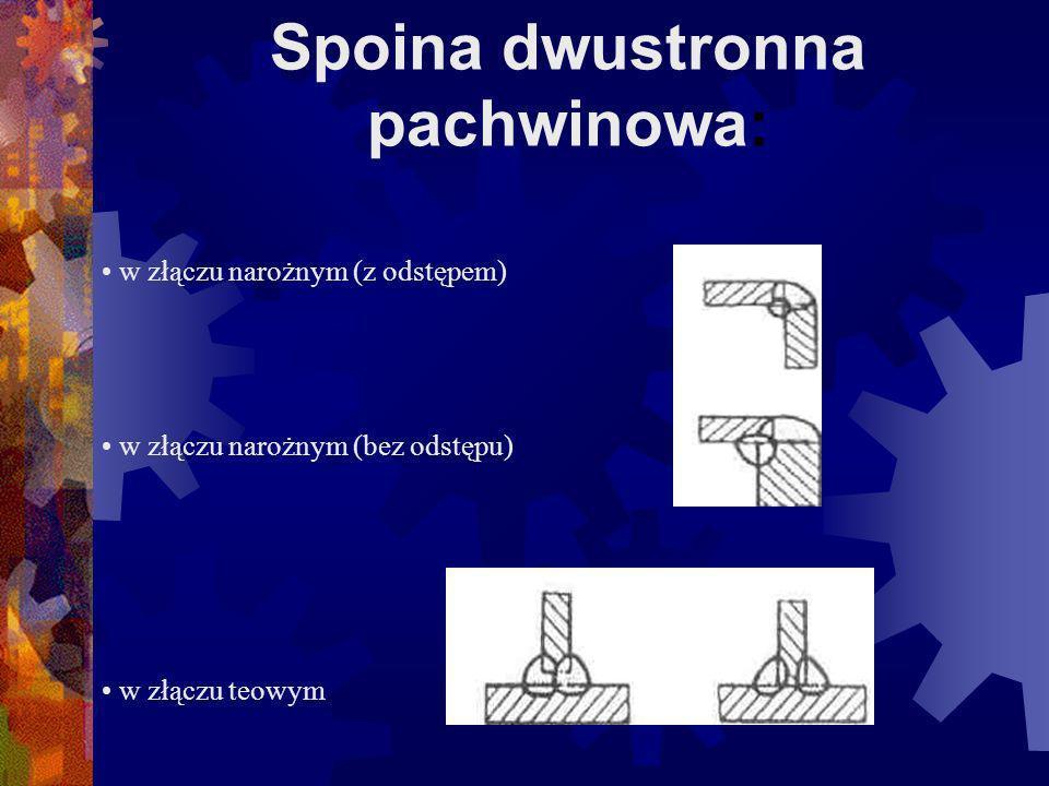 Spoina jednostronna pachwinowa: w złączu teowym w złączu nakładkowym w złączu narożnym