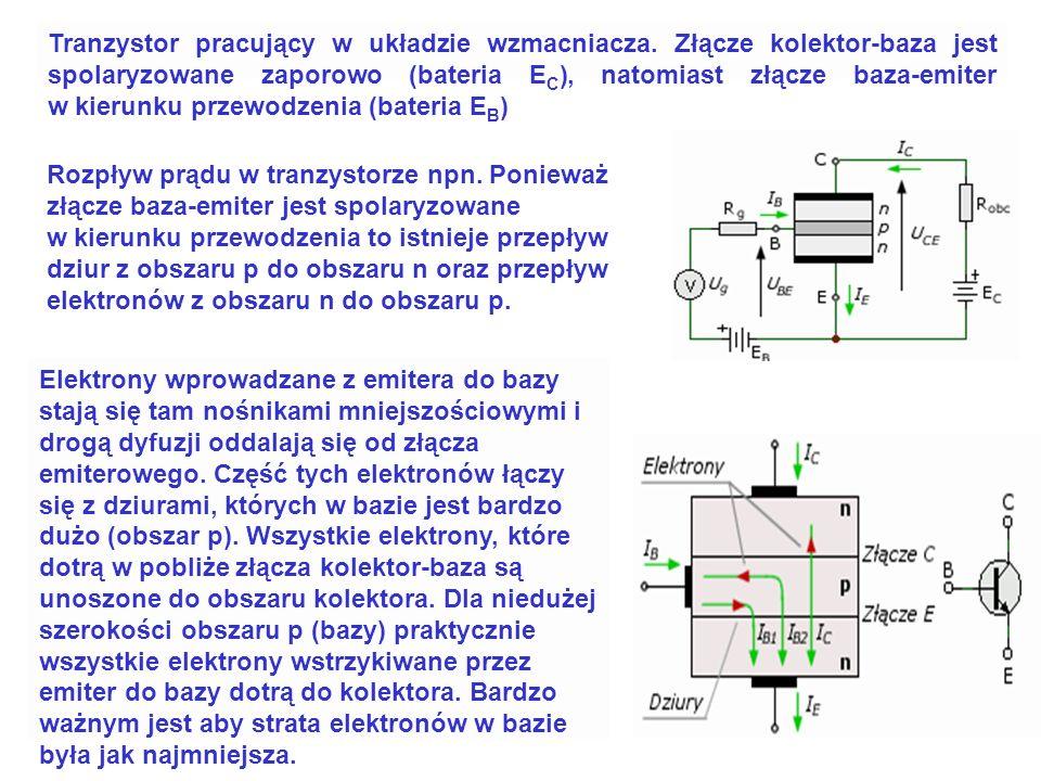 Aby tranzystor znajdował się w stanie normalnej pracy to muszą być spełnione następujące warunki: dla tranzystora npn potencjał kolektora musi być wyż