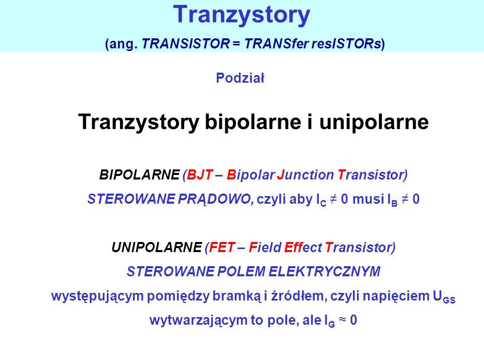 Wyróżnia się dwie główne grupy tranzystorów, które różnią się zasadniczo zasadą działania: 1.Tranzystory bipolarne, w których prąd wyjściowy jest funk