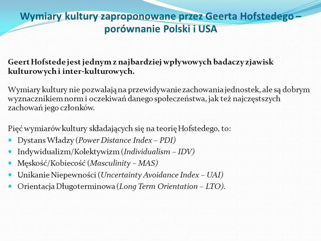 Wymiary kultury zaproponowane przez Geerta Hofstedego – porównanie Polski i USA Geert Hofstede jest jednym z najbardziej wpływowych badaczy zjawisk ku