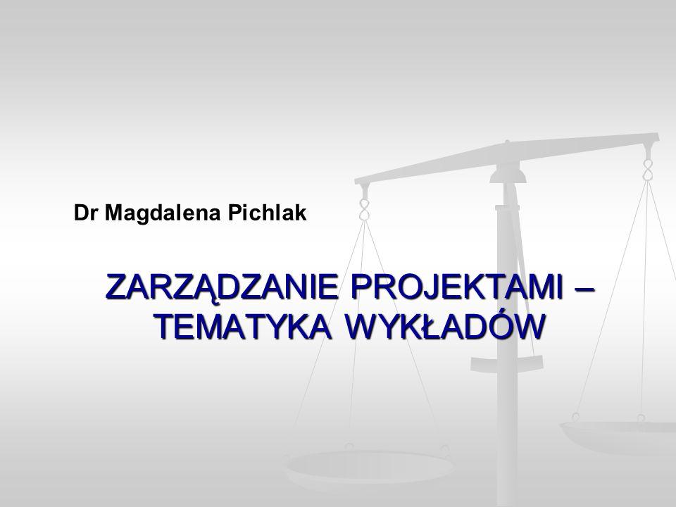 ZARZĄDZANIE PROJEKTAMI – TEMATYKA WYKŁADÓW Dr Magdalena Pichlak